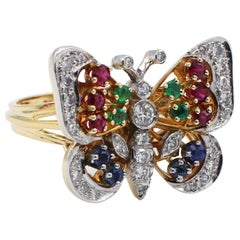 18 Karat Yellow Gold Diamond and Gemstone Butterfly Cocktail Ring