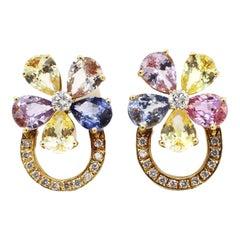 18 Karat Yellow Gold Diamond and Multi-Color Sapphire Flower Earrings