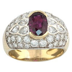18 Karat Yellow Gold Diamond and Natural Siam Ruby Cluster Ring