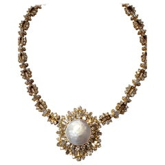 18 Karat Yellow Gold, Diamond and Pearl Choker Necklace with Detachable Brooch