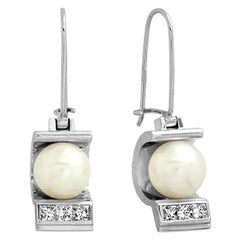 "FARBOD 18 Karat White Gold Diamond and Pearl Earrings ""Poise"""