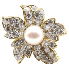 18 Karat Yellow Gold Diamond and Pearl Flower Brooch Pin