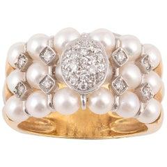 18 Karat Yellow Gold Diamond and Pearl Ring