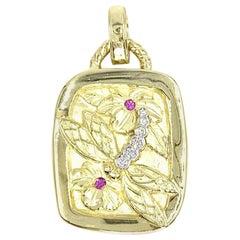 18 Karat Yellow Gold Diamond and Pink Sapphire Dragonfly Necklace Enhancer
