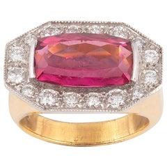 18 Karat Yellow Gold Diamond and Rubellite Ring