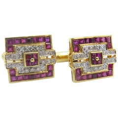 18 Karat Yellow Gold Diamond and Ruby Art Deco Cuff Links