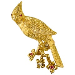 18 Karat Yellow Gold Diamond and Ruby Bird Brooch / Pin