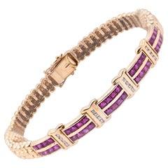 18 Karat Yellow Gold Diamond and Ruby Bracelet