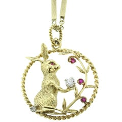 18 Karat Yellow Gold, Diamond and Ruby Bunny Pendant and Neck Chain