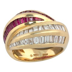 18 Karat Yellow Gold Diamond and Ruby Cross over Ring