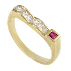 18 Karat Yellow Gold Diamond and Ruby Curved Band Ring MFC36-122013YEM