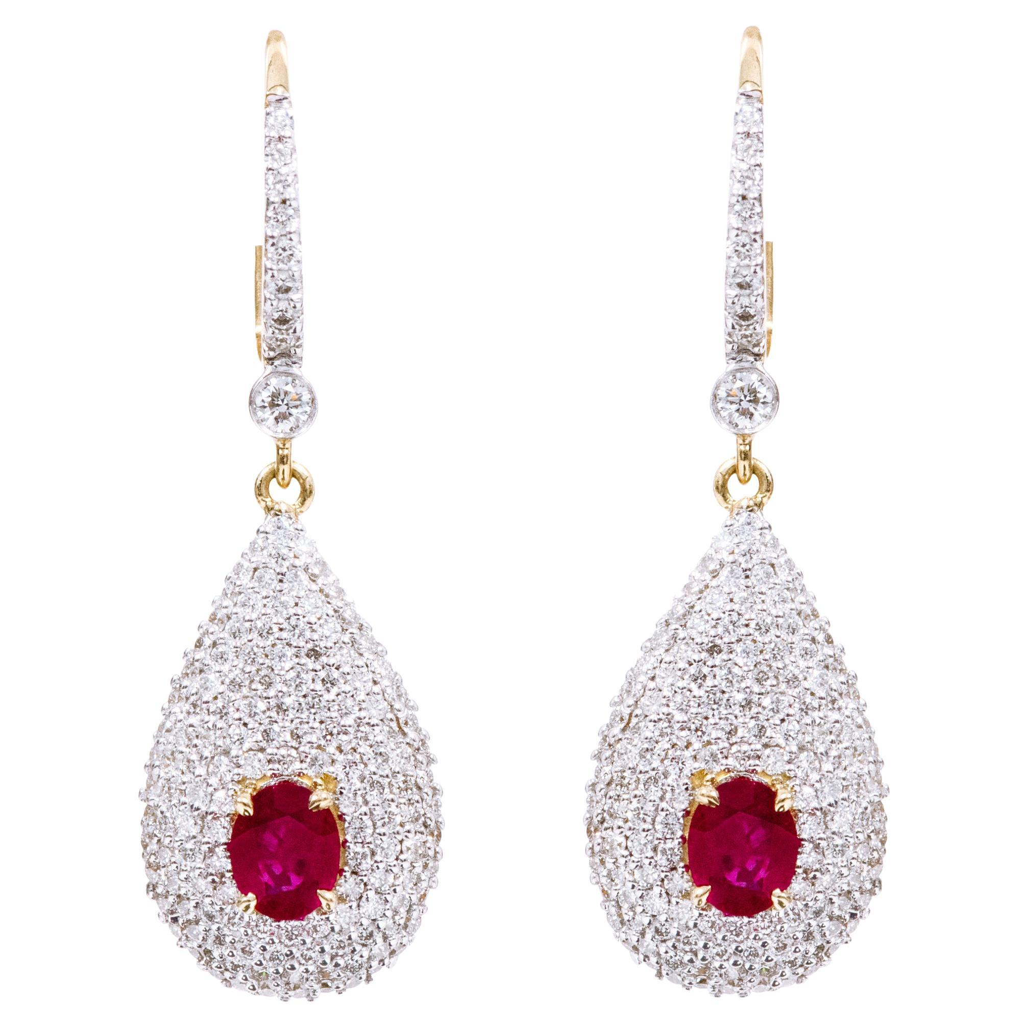 18 Karat Yellow Gold Diamond and Ruby Drop Earrings