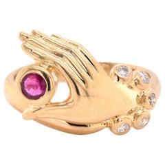18 Karat Yellow Gold Diamond and Ruby Hand Ring