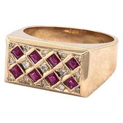 18 Karat Yellow Gold Diamond and Ruby Ring