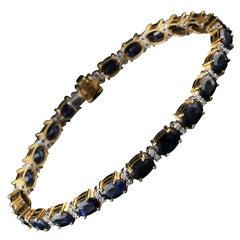 18 Karat Yellow Gold Diamond and Sapphire Bracelet