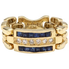 18 Karat Yellow Gold Diamond and Sapphire Chain Link Ring