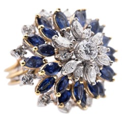 18 Karat Yellow Gold Diamond and Sapphire Cocktail Fashion Ring