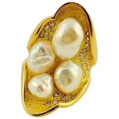 18 Karat Yellow Gold, Diamond and South Sea Pearl Saddle Ring