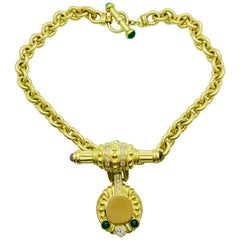 18 Karat Yellow Gold, Diamond and Tourmaline Engrave-Able Enhancer on Chain