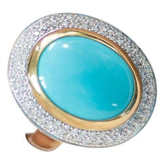 18 Karat Yellow Gold, Diamond and Turquoise Cocktail Ring
