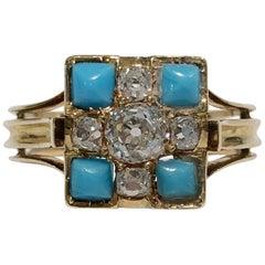 18 Karat Yellow Gold Diamond and Turquoise Ring