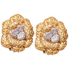 18 Karat Yellow Gold Diamond and Yellow Sapphire Flower Earrings