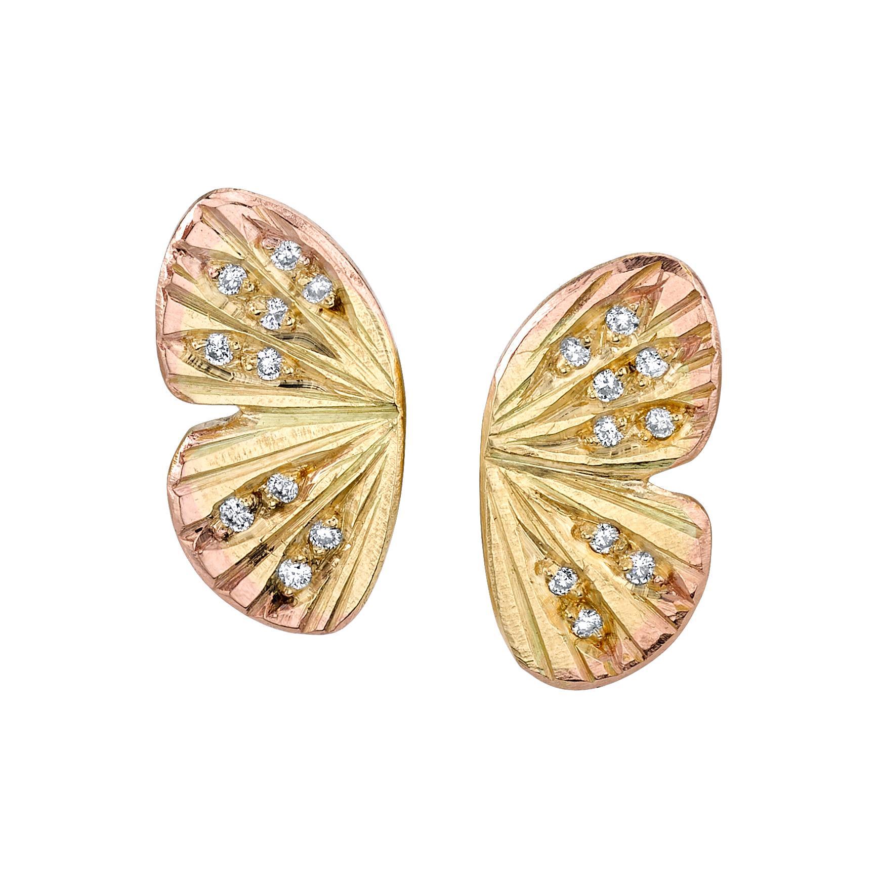 18 Karat Yellow Gold Diamond Baby Asterope Butterfly Wing Earrings