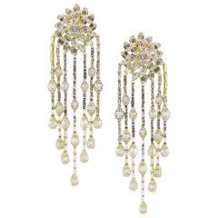 18 Karat Yellow Gold Diamond Baguette Oval Burst Chandelier Dangling Earring