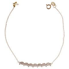 18 Karat Yellow Gold Diamond Baguette Spiky Bar Bracelet