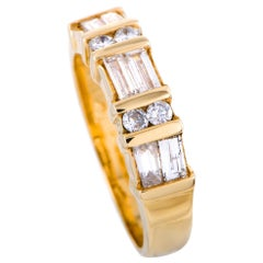 18 Karat Yellow Gold Diamond Band Ring