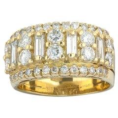 18 Karat Yellow Gold Diamond Band Ring