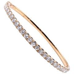 18 Karat Yellow Gold Diamond Bangle Bracelet