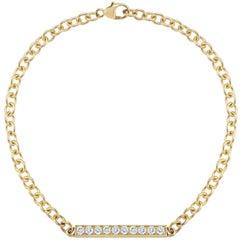 18 Karat Yellow Gold Diamond Bar Bracelet