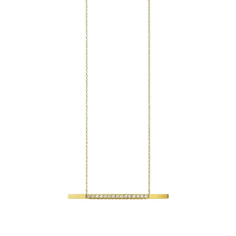 This sleek and simple necklace has an adjustable bar that slides along the chain to allow various stylings. Both sides of the bar are set with pavé diamonds making it reversible.   Chain length: 750mm Pendant width: 50mm Diamonds: 1.6mm x