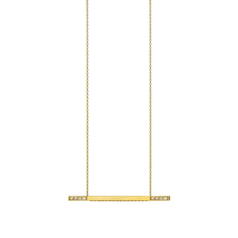 Round Cut 18 Karat Yellow Gold Diamond Bar Necklace For Sale