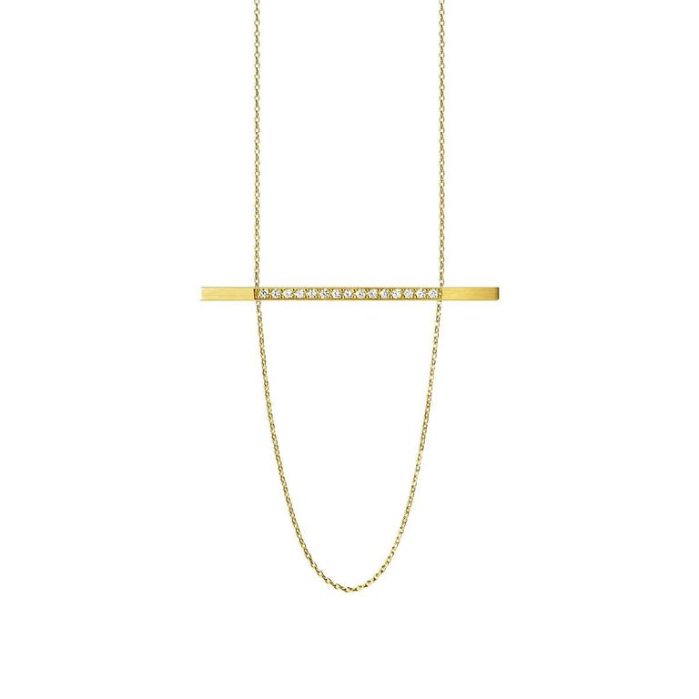 18 Karat Yellow Gold Diamond Bar Necklace In New Condition For Sale In Shibuya, Tokyo, JP