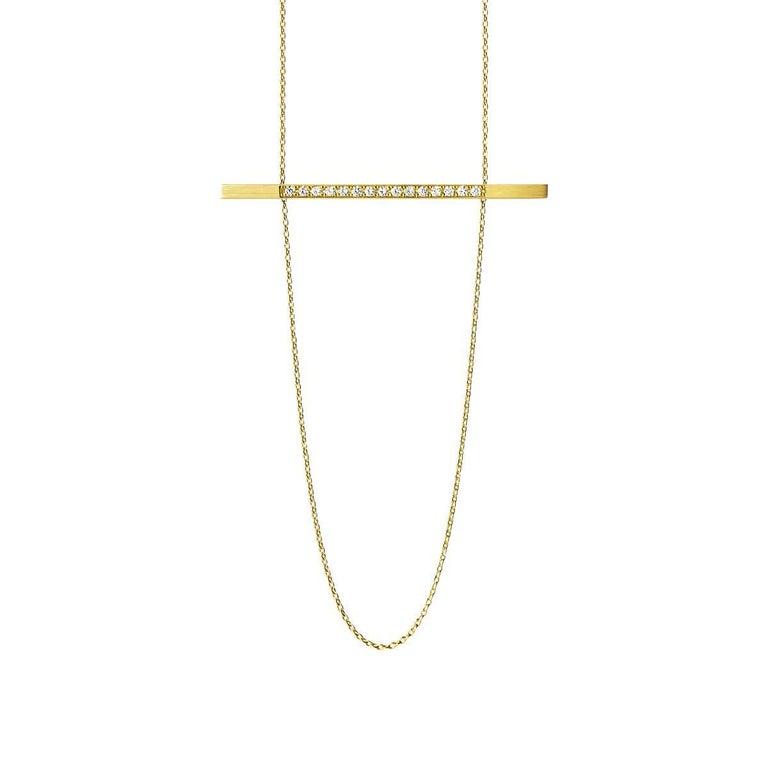 Women's or Men's 18 Karat Yellow Gold Diamond Bar Necklace For Sale
