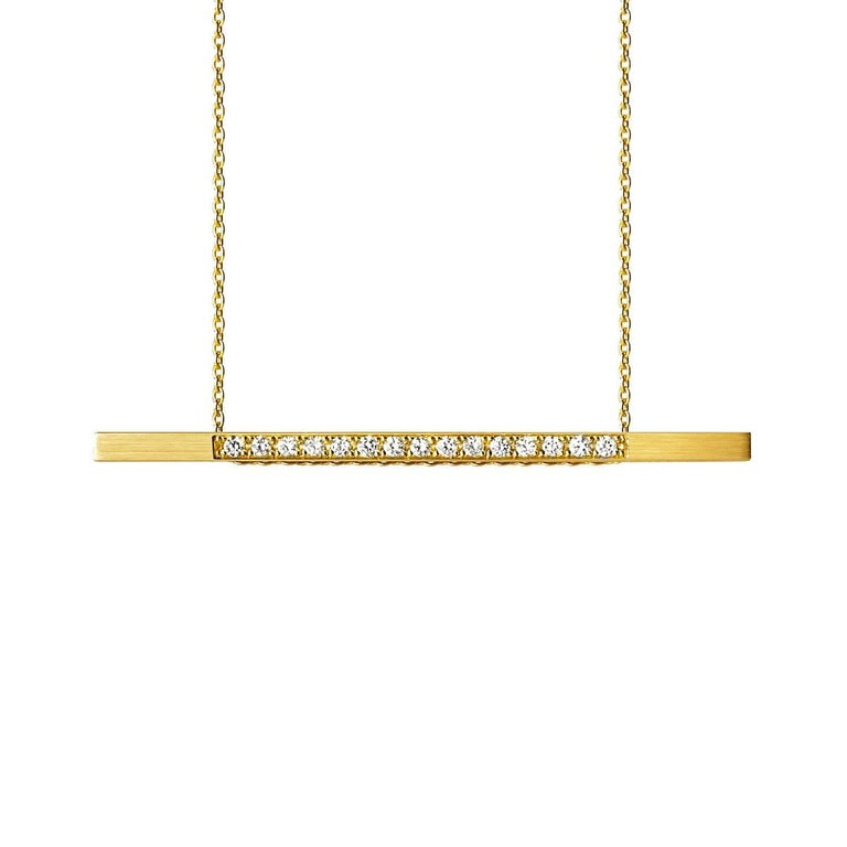 18 Karat Yellow Gold Diamond Bar Necklace For Sale