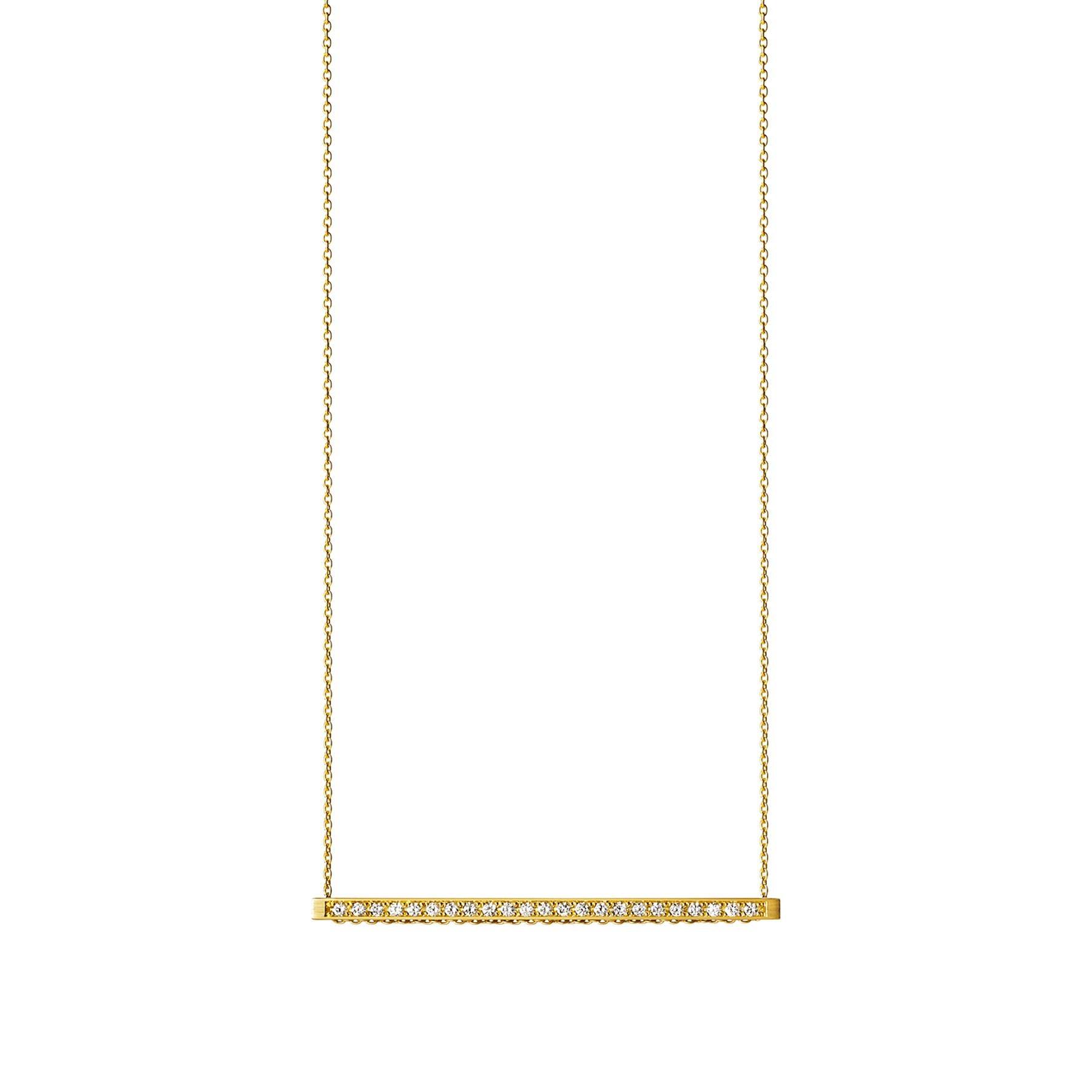 18 Karat Yellow Gold Diamond Bar Necklace