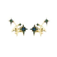 18 Karat Yellow Gold Diamond Blue Sapphires Tsavorites Rhodium Stud Earrings
