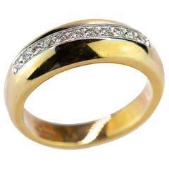 18 Karat Yellow Gold Diamond Brilliant Pave Line Band Handmade Wedding Ring