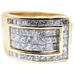 18 Karat Yellow Gold Diamond Buckle Ring