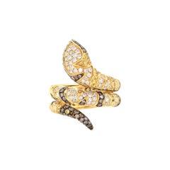 18 Karat Yellow Gold Diamond, Champagne Diamond, and Yellow Sapphire Snake Crawl