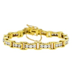 18 Karat Yellow Gold Diamond Channel Set Approximate 4.5 Carat Bracelet