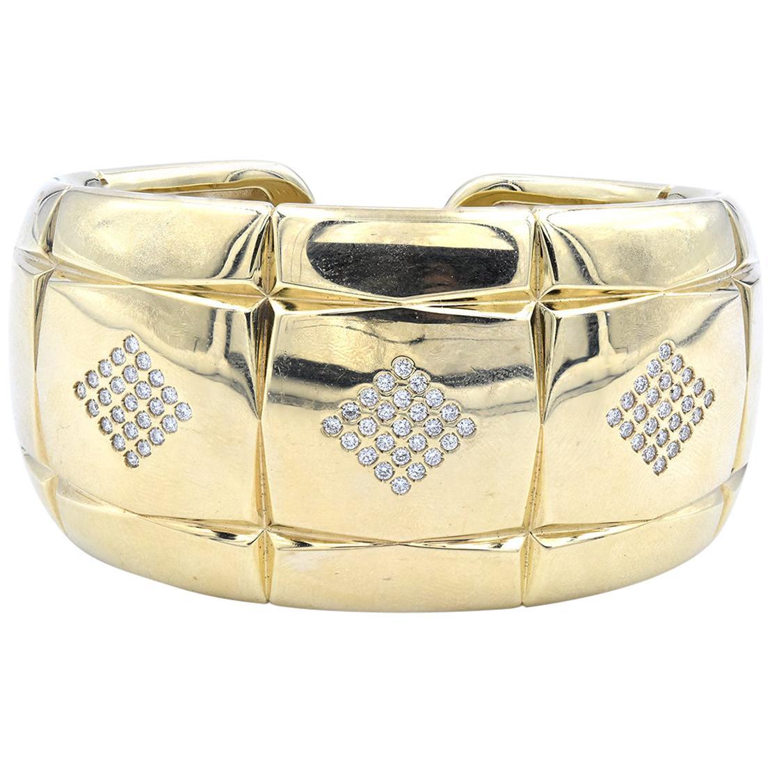 18 Karat Yellow Gold Diamond Checkerboard Cuff Bracelet