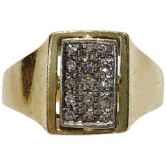 18 Karat Yellow Gold Diamond Chevalier Pavè Ring