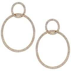 18 Karat Yellow Gold Diamond Circle Round Door Knob Drop Earrings