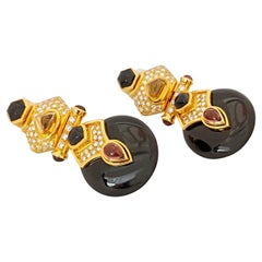 18 Karat Yellow Gold Diamond, Citrine, Pink Tourmaline and Onyx Hanging Earrings