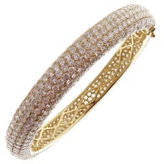 18 Karat Yellow Gold Diamond Classic Pave Band Eternity Bangle Bracelet