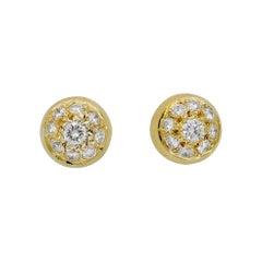 18 Karat Yellow Gold Diamond Cluster Studs Earrings